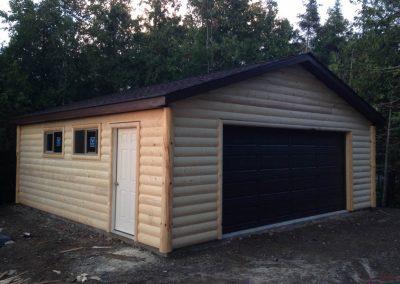Upgrades Shown: Aluminum Soffit and Fascia -  Half Log Siding